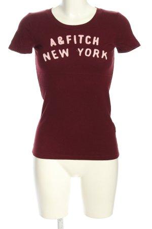 Abercrombie & Fitch Print-Shirt rot-weiß Schriftzug gedruckt Casual-Look