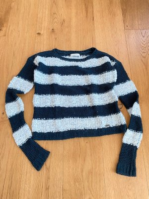 Abercrombie & Fitch Crochet Sweater white-blue mixture fibre