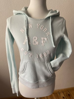 Abercrombie & Fitch Hooded Sweater light blue-baby blue cotton
