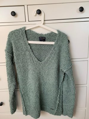 Abercrombie & Fitch Pull tricoté turquoise-gris vert