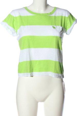 Abercrombie & Fitch Ringelshirt weiß-grün Allover-Druck Casual-Look
