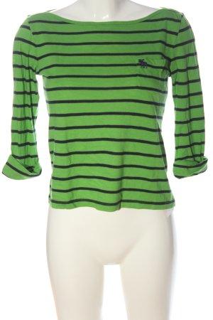 Abercrombie & Fitch Ringelshirt grün-schwarz Streifenmuster Casual-Look