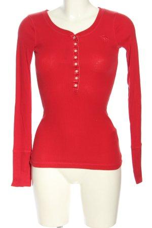 Abercrombie & Fitch Chemise côtelée rouge lettrage brodé style décontracté