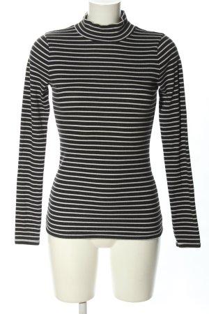 Abercrombie & Fitch Maglia a collo alto nero-bianco motivo a righe stile casual
