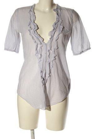 Abercrombie & Fitch Rüschen-Bluse hellgrau-weiß Streifenmuster Casual-Look