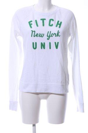 Abercrombie & Fitch Rundhalspullover weiß-grün Motivdruck Casual-Look