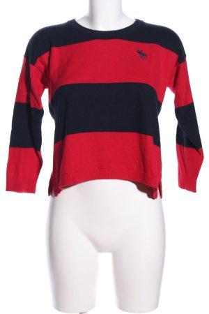 Abercrombie & Fitch Rundhalspullover schwarz-rot Motivdruck Casual-Look