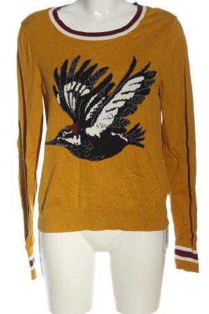 Abercrombie & Fitch Kraagloze sweater licht Oranje-zwart prints met een thema
