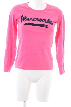 Abercrombie & Fitch Rundhalspullover pink-schwarz Schriftzug gedruckt