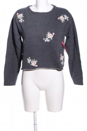 Abercrombie & Fitch Rundhalspullover hellgrau Blumenmuster Casual-Look