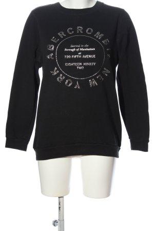 Abercrombie & Fitch Rundhalspullover schwarz Schriftzug gedruckt Casual-Look