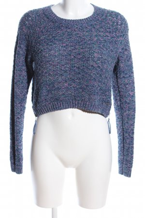 Abercrombie & Fitch Rundhalspullover blau-pink Zopfmuster Casual-Look