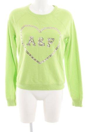 Abercrombie & Fitch Rundhalspullover grün-silberfarben Casual-Look