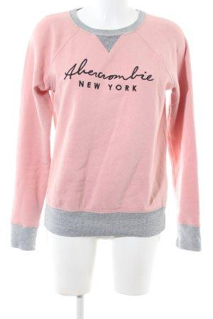 Abercrombie & Fitch Rundhalspullover pink-hellgrau meliert Casual-Look