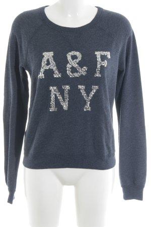 Abercrombie & Fitch Rundhalspullover dunkelblau-silberfarben Schriftzug gestickt