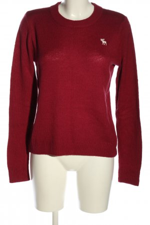 Abercrombie & Fitch Rundhalspullover rot Motivdruck Casual-Look
