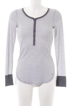 Abercrombie & Fitch Rundhalspullover wollweiß-grau Streifenmuster Casual-Look