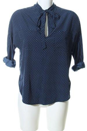 Abercrombie & Fitch Schlupf-Bluse blau-weiß Allover-Druck Business-Look