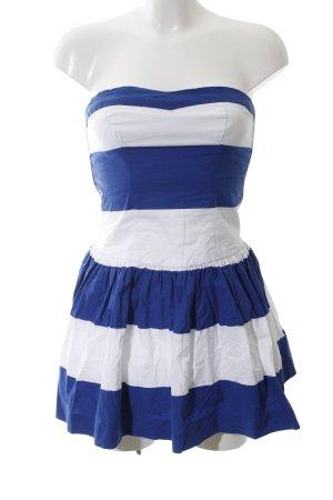 Abercrombie & Fitch schulterfreies Kleid weiß-blau Streifenmuster Casual-Look
