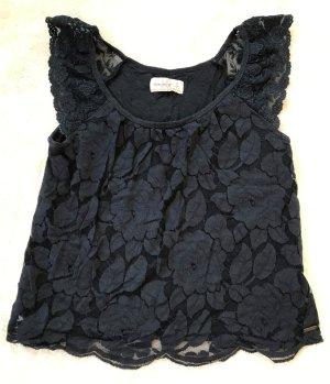 * ABERCROMBIE & FITCH * Shirt Bluse Spitze Blumenmuster schwarz Gr XS