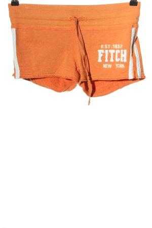 Abercrombie & Fitch Shorts hellorange-wollweiß Schriftzug gestickt Casual-Look