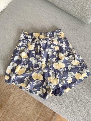 Abercrombie & Fitch Shorts Leinen Sommer Zitronen blau graublau gelb sommerlich XS 34 neu