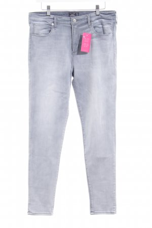 Abercrombie & Fitch Skinny Jeans hellgrau Washed-Optik