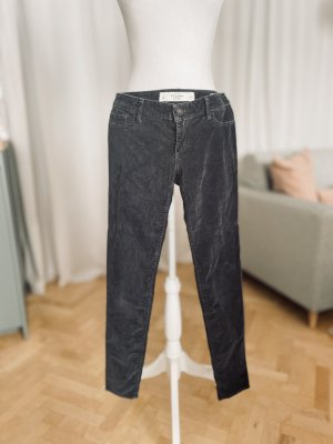 Abercrombie & Fitch Low-Rise Trousers dark grey-grey cotton