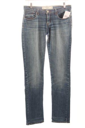 Abercrombie & Fitch Slim Jeans blau Logo-Applikation aus Leder
