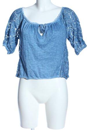 Abercrombie & Fitch Blusa in merletto blu puntinato stile casual