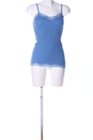 Abercrombie & Fitch Top de encaje azul look casual