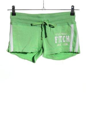 Abercrombie & Fitch Sportshorts grün-weiß Schriftzug gedruckt sportlicher Stil