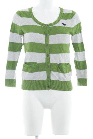 Abercrombie & Fitch Strick Cardigan grasgrün-hellgrau Streifenmuster