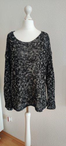 Abercrombie & Fitch Pullover a maglia grossa nero-bianco Cotone