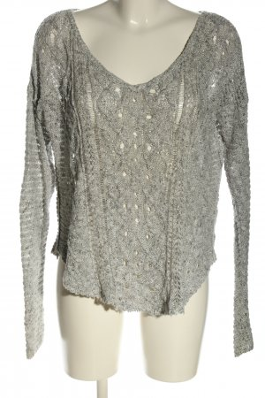 Abercrombie & Fitch Strickpullover hellgrau Zopfmuster Casual-Look