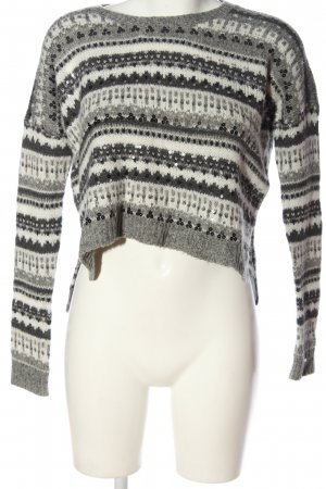 Abercrombie & Fitch Strickpullover weiß-hellgrau abstraktes Muster Casual-Look