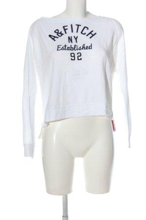 Abercrombie & Fitch Strickpullover weiß-schwarz Schriftzug gedruckt Casual-Look