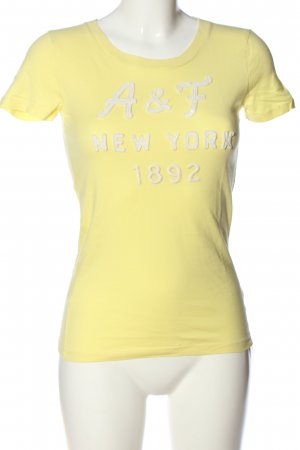 Abercrombie & Fitch Strickshirt blassgelb Schriftzug gestickt Casual-Look