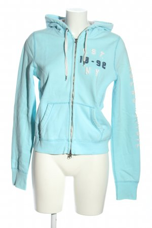 Abercrombie & Fitch Sweat Jacket turquoise-white embroidered lettering