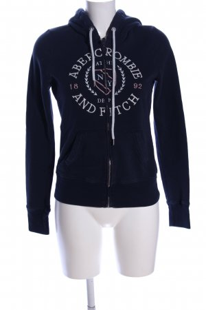 Abercrombie & Fitch Sweatjack blauw geborduurde letters casual uitstraling