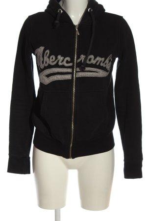 Abercrombie & Fitch Sweatjacke schwarz Schriftzug gestickt Casual-Look