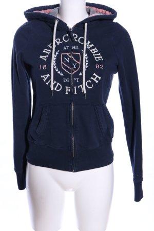 Abercrombie & Fitch Sweatjacke blau Schriftzug gestickt Casual-Look