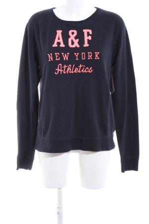 Abercrombie & Fitch Sweatshirt blau-pink Schriftzug gedruckt Casual-Look