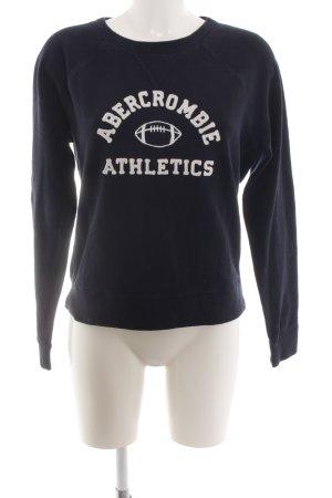 Abercrombie & Fitch Sweatshirt blau Schriftzug gestickt Casual-Look