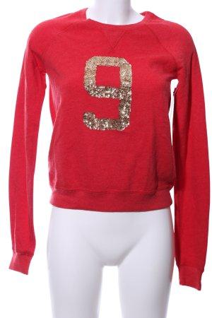 Abercrombie & Fitch Sweatshirt rot-goldfarben Schriftzug gedruckt Casual-Look