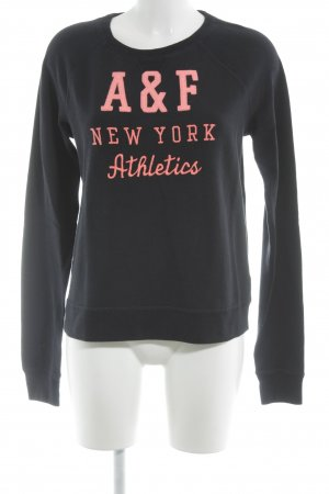 Abercrombie & Fitch Sweatshirt dunkelblau-rosa grafisches Muster Casual-Look
