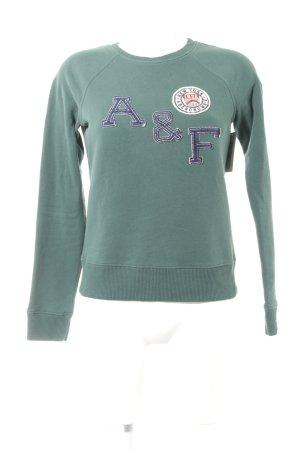 Abercrombie & Fitch Sweatshirt petrol Schriftzug gestickt Casual-Look