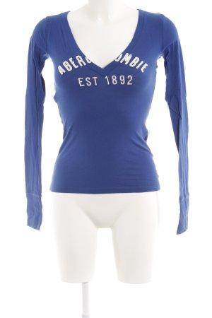 Abercrombie & Fitch Sweatshirt wollweiß-blau Schriftzug gestickt