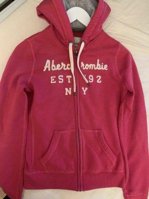 Abercrombie & Fitch Chaqueta de tela de sudadera rosa-blanco