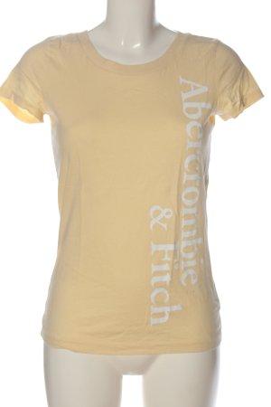 Abercrombie & Fitch T-Shirt nude-weiß Schriftzug gedruckt Casual-Look
